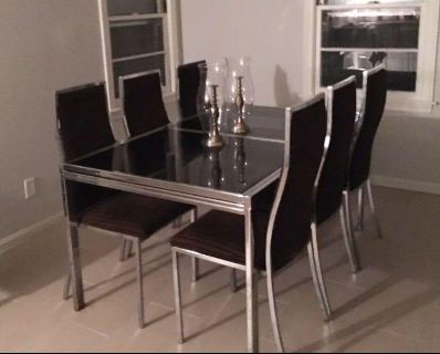 MCM Bassett Co. Glass & Metal Dining Table and Chairs