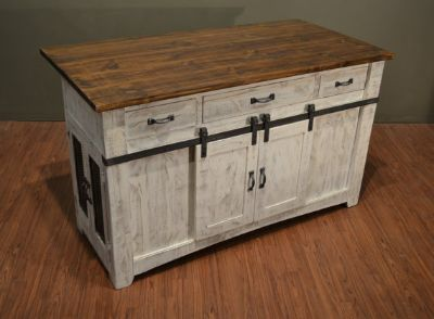 Rustic 3 Drawer Kitchen Island w/2 sliding doors