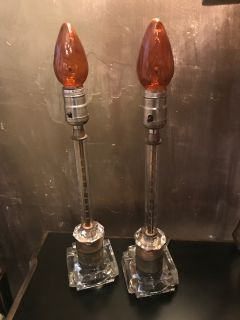 Pair of Etched Crystal Lamps