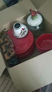 Red plates and bowl with cookie jar