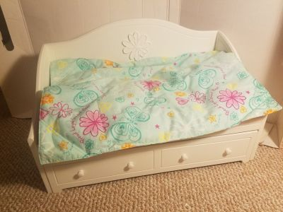 American Girl white trundle bed set