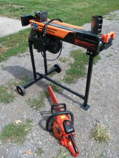 Electric Ton wood splitter and Echo Chainsaw