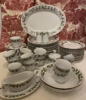 12 Place Settings of Noel Christmas China Plus Serving Pieces