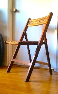 Mid Century Danish Walnut&Woven Cord Folding Chair