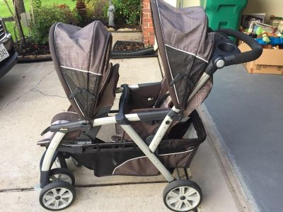 Chicco double stroller, gray