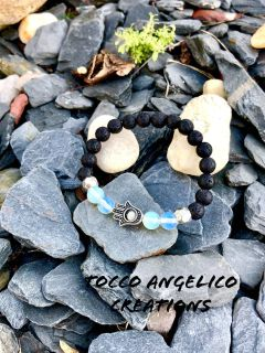volcanic rock, opal and crystals bracelet