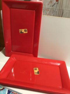 6 red plastic rectangle serving plates X2