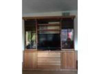 TV Entertainment Center Solid Oak Wood Media Wall Unit