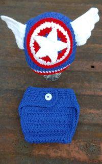 Handmade Capitan American baby set.