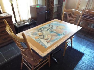 Table with Two Antique Chairs*Art Work*Beautiful