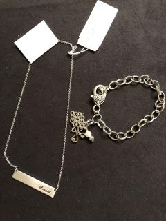 NWT bracelet/earring set. Bar necklace with blessed . Rep sample. Ppu