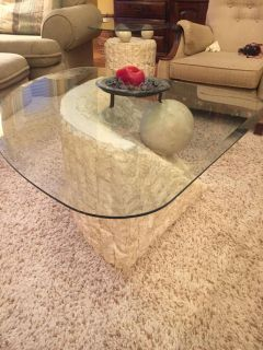 Matching glass-top coffee & end table MUST GO!