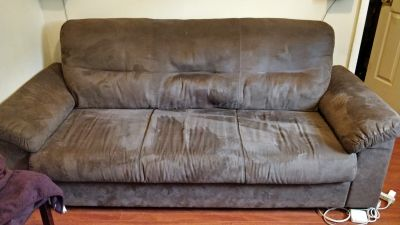 3 Seater Brown Suede Sofa