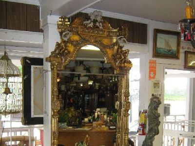 Gold Figural Marble Top Console with Mirror