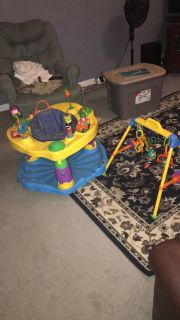 Walker , pack and play, bouncy seat and gym