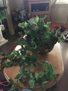 Beautiful large artificial plant in vase
