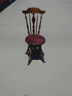 VINTAGE ANTIQUE PIANO STOOL CLAW FEET GLASS BALLS VICTORIAN