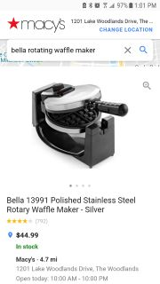 NEW BELLA ROTATING WAFFLE MAKER STAINLESS STEEL