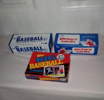 Baseball cards. Topps Big Cards 36 packs, Topps 500 picture cards and Fleer 1982 Logo Stickers and trading cards. Only sold together. $40