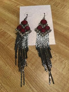 Nip statement Earrings in berry colored stones and rhinestone
