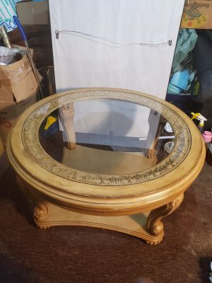Faux Victorian Wood Carved Coffee Table