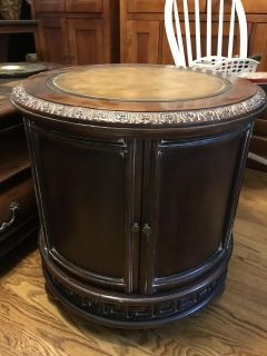 End Table with Leather Inlay