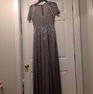 Silver-gray beaded gown, brand new!