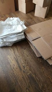 Free moving boxes and packing paper