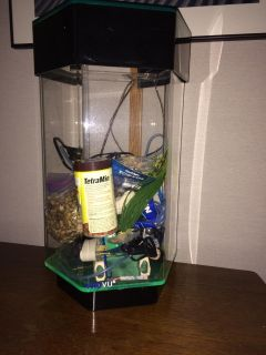 TruVue 7.5 Gallon 6 sided fish tank & items