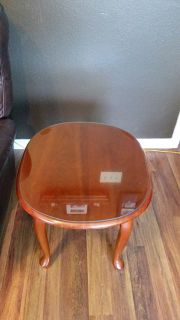 $50, Cherry Wood End Table with Glass