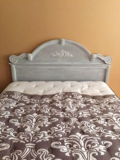 Queen size bed frame. Hand painted with grey and white chalk paint