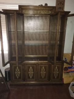 2 piece heavy wood China cabinet
