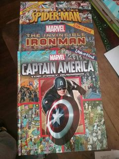 Look and find hard back marvel books