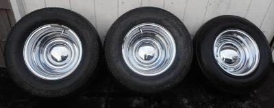 15x12 Chrome wheels w/baby moon caps Mickey Thompson Tires