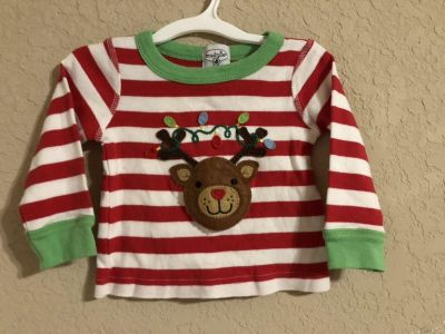 Mud Pie Baby Christmas Red and White Stripe Top. Size 11-18 Months