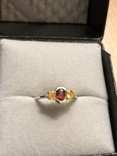 Sterling Silver, Garnet, and Citrine Ring - Size 7