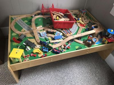 Wooden train table. Like New.