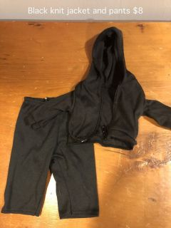 "18"" Doll clothes black jogging outfit"