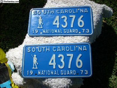 1973 S C National Guard License Plate