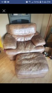 Leather oversized chair and ottoman