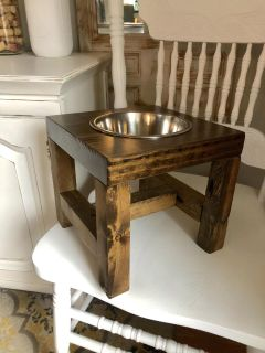 Rustic dog bowl stand and bowl