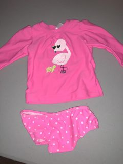 Hot Pink Flamingo And Baby Turtle Long Sleeve 2 Piece Bathing Suit Child Of Mine Carters Size 6-9 Months Brand New Without Tags