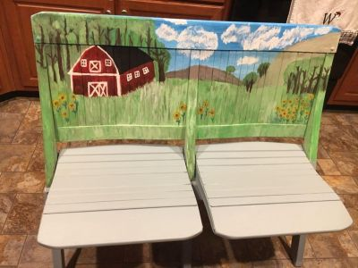 Old Hand painted theatre/church folding bench