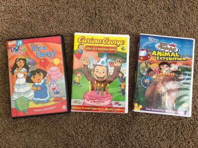 Curious George, Dora the Explorer, and Little Einsteins DVDS, GUC, selling together, $10. Discount for porch pick up.