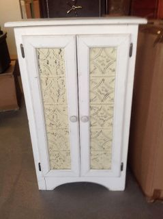 Rustic Whitewashed Storage Cabinet