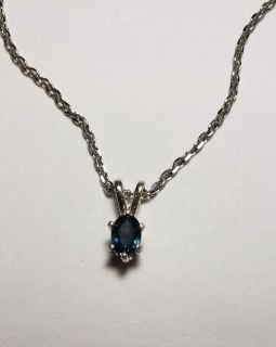Natural Oval Blue Montana Sapphire necklace, 0.6cts