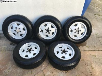OEM Vanagon Alloy Wheels Set of 5 w/tires(rollers)