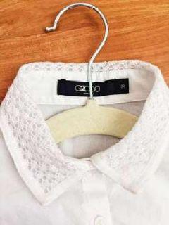 NEW White Dress Shirt, with crochet detailed collar