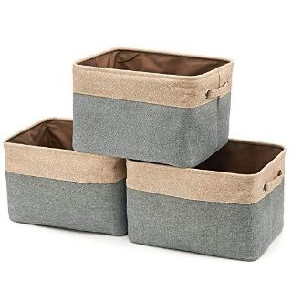 Set of 3 Large Rugged Canvas Fabric Cubes with Handles