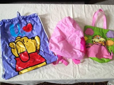 kids bagstotes...winnie the pooh, princess, and lorax